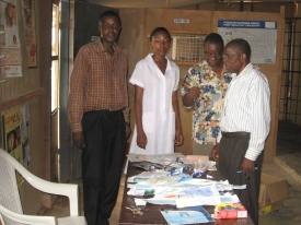 Dr. Olowu distributes medical supplies to a needy clinic in Nigeria