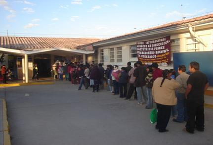 Line of patients outside the hospital