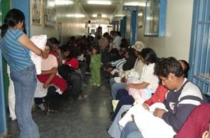 Patients waiting inside hospital
