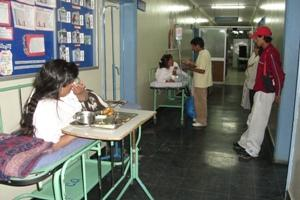 Patients in hospital hallway