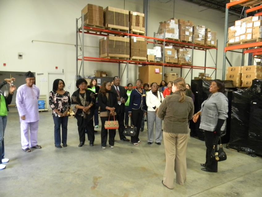 Shipments Manager Amanda Paniagua speaking with members of the NWAG