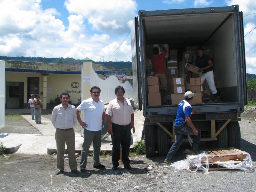 Container being unloaded in Ecuador