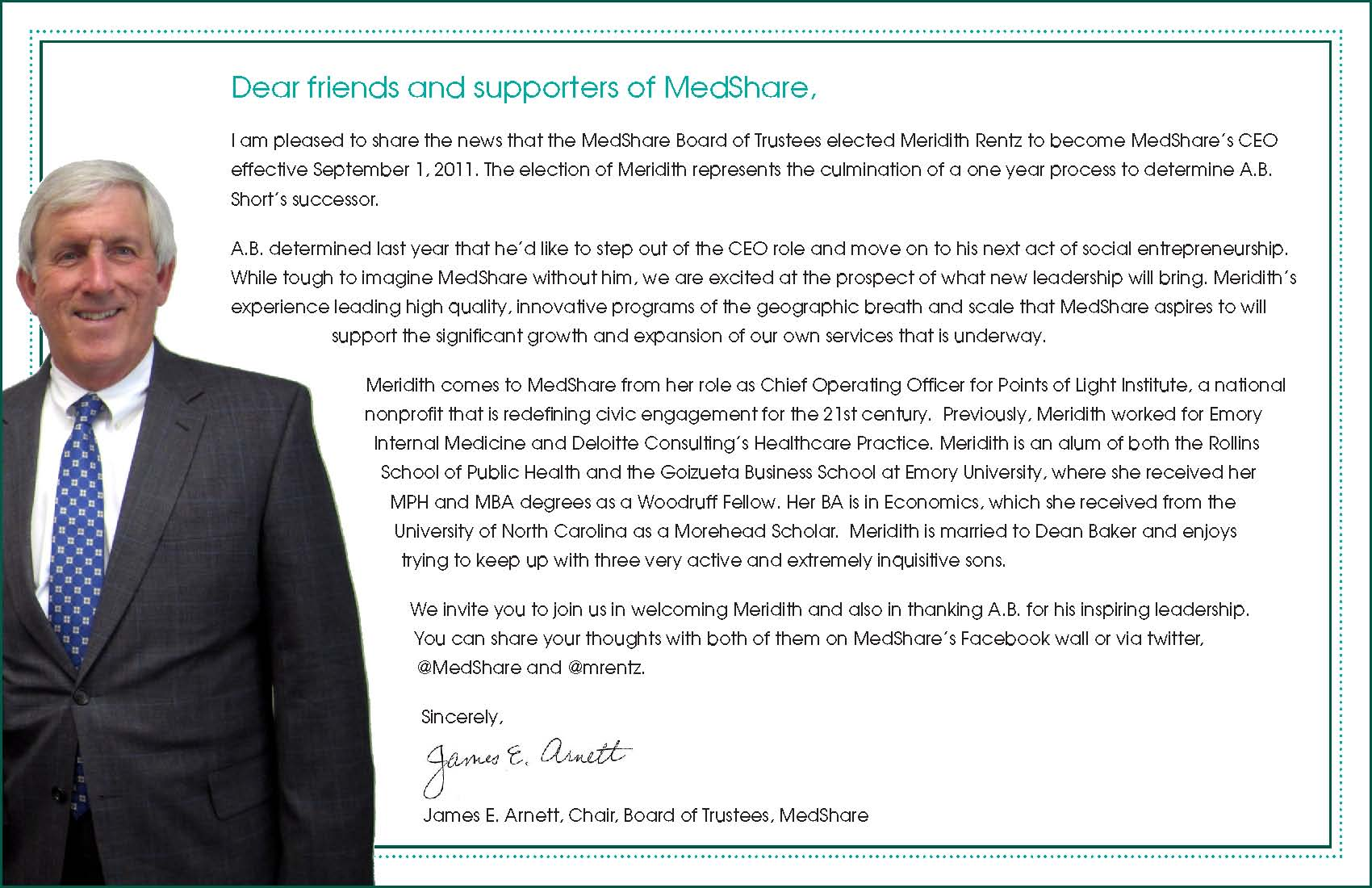 CEO announcement | MedShare