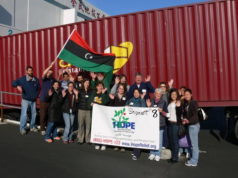 Staff and volunteers with the shipment
